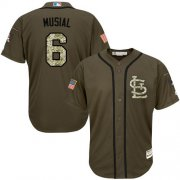 Wholesale Cheap Cardinals #6 Stan Musial Green Salute to Service Stitched MLB Jersey