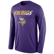 Wholesale Cheap Men's Minnesota Vikings Nike Purple Legend Staff Practice Long Sleeves Performance T-Shirt
