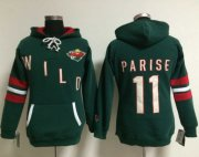 Wholesale Cheap Minnesota Wild #11 Zach Parise Green Women's Old Time Heidi NHL Hoodie