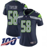 Wholesale Cheap Nike Seahawks #58 Darrell Taylor Steel Blue Team Color Women's Stitched NFL 100th Season Vapor Untouchable Limited Jersey