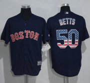 Wholesale Cheap Red Sox #50 Mookie Betts Navy Blue USA Flag Fashion Stitched MLB Jersey