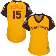Wholesale Cheap Red Sox #15 Dustin Pedroia Gold 2016 All-Star American League Women's Stitched MLB Jersey
