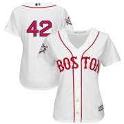 Wholesale Cheap Boston Red Sox #42 Majestic Women's 2019 Jackie Robinson Day Official Cool Base Jersey White