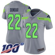 Wholesale Cheap Nike Seahawks #22 Quinton Dunbar Gray Women's Stitched NFL Limited Inverted Legend 100th Season Jersey