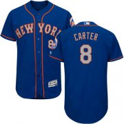 Wholesale Cheap Mets #8 Gary Carter Blue(Grey NO.) Flexbase Authentic Collection Stitched MLB Jersey