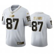 Wholesale Cheap New York Giants #87 Sterling Shepard Men's Nike White Golden Edition Vapor Limited NFL 100 Jersey