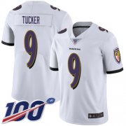 Wholesale Cheap Nike Ravens #9 Justin Tucker White Men's Stitched NFL 100th Season Vapor Limited Jersey