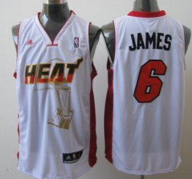 Wholesale Cheap Miami Heat #6 LeBron James White The Finals Commemorative Jersey