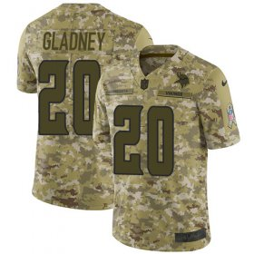 Wholesale Cheap Nike Vikings #20 Jeff Gladney Camo Youth Stitched NFL Limited 2018 Salute To Service Jersey