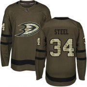 Wholesale Cheap Adidas Ducks #34 Sam Steel Green Salute to Service Youth Stitched NHL Jersey