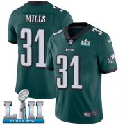 Wholesale Cheap Nike Eagles #31 Jalen Mills Midnight Green Team Color Super Bowl LII Men's Stitched NFL Vapor Untouchable Limited Jersey