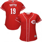 Wholesale Cheap Reds #19 Joey Votto Red Alternate Women's Stitched MLB Jersey