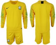 Wholesale Cheap Brazil Blank Yellow Goalkeeper Long Sleeves Soccer Country Jersey