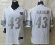 Wholesale Nike Steelers #43 Troy Polamalu White Men's Stitched NFL Limited Platinum Jersey
