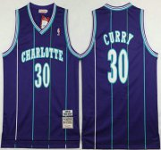 Wholesale Cheap Men's Charlotte Hornets #30 Dell Curry 1992-93 Purple Hardwood Classics Soul Swingman Throwback Jersey