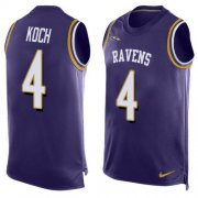 Wholesale Cheap Nike Ravens #4 Sam Koch Purple Team Color Men's Stitched NFL Limited Tank Top Jersey