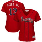 Wholesale Cheap Braves #13 Ronald Acuna Jr. Red Alternate Women's Stitched MLB Jersey