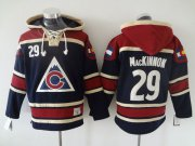 Wholesale Cheap Avalanche #29 Nathan MacKinnon Navy Blue Sawyer Hooded Sweatshirt Stitched NHL Jersey