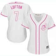 Wholesale Cheap Indians #7 Kenny Lofton White/Pink Fashion Women's Stitched MLB Jersey