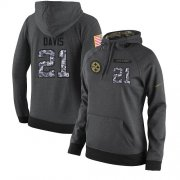 Wholesale Cheap NFL Women's Nike Pittsburgh Steelers #21 Sean Davis Stitched Black Anthracite Salute to Service Player Performance Hoodie