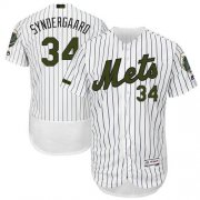 Wholesale Cheap Mets #34 Noah Syndergaard White(Blue Strip) Flexbase Authentic Collection Memorial Day Stitched MLB Jersey