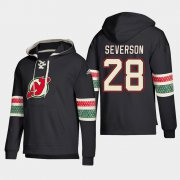 Wholesale Cheap New Jersey Devils #28 Damon Severson Black adidas Lace-Up Pullover Hoodie