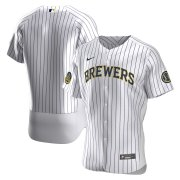 Wholesale Cheap Milwaukee Brewers Men's Nike White Home 2020 Authentic Team MLB Jersey