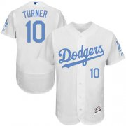 Wholesale Cheap Dodgers #10 Justin Turner White Flexbase Authentic Collection Father's Day Stitched MLB Jersey