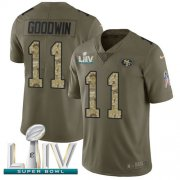 Wholesale Cheap Nike 49ers #11 Marquise Goodwin Olive/Camo Super Bowl LIV 2020 Men's Stitched NFL Limited 2017 Salute To Service Jersey
