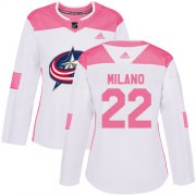 Wholesale Cheap Adidas Blue Jackets #22 Sonny Milano White/Pink Authentic Fashion Women's Stitched NHL Jersey