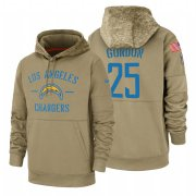 Wholesale Cheap Los Angeles Chargers #25 Melvin Gordon Nike Tan 2019 Salute To Service Name & Number Sideline Therma Pullover Hoodie