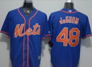 Wholesale Cheap Mets #48 Jacob DeGrom Blue New Cool Base Alternate Home Stitched MLB Jersey