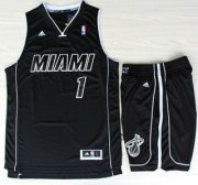 Wholesale Cheap Miami Heat 1 Chris Bosh Black With White Shadow Revolution 30 Jerseys Shorts NBA Suits
