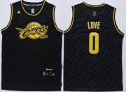 Wholesale Cheap Cleveland Cavaliers #0 Kevin Love Revolution 30 Swingman 2014 Black With Gold Jersey