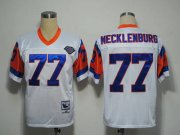 Wholesale Cheap Mitchel and Ness Broncos #77 Karl Mecklenburg White With 75 Anniversary Patch Stitched Throwback NFL Jersey
