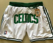 Wholesale Cheap Men's Boston Celtics White Just Don Shorts Swingman Shorts