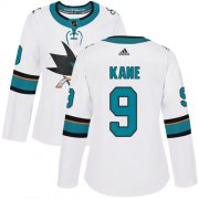 Wholesale Cheap Adidas Sharks #9 Evander Kane White Road Authentic Women's Stitched NHL Jersey