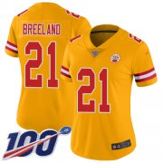 Wholesale Cheap Nike Chiefs #21 Bashaud Breeland Gold Women's Stitched NFL Limited Inverted Legend 100th Season Jersey