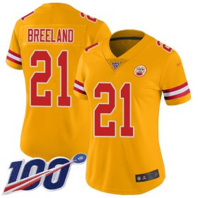 Wholesale Cheap Nike Chiefs #21 Bashaud Breeland Gold Women\'s Stitched NFL Limited Inverted Legend 100th Season Jersey