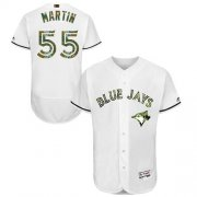 Wholesale Cheap Blue Jays #55 Russell Martin White Flexbase Authentic Collection Memorial Day Stitched MLB Jersey