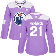 Wholesale Cheap Adidas Oilers #21 Andrew Ference Purple Authentic Fights Cancer Women's Stitched NHL Jersey