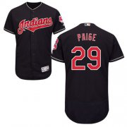 Wholesale Cheap Indians #29 Satchel Paige Navy Blue Flexbase Authentic Collection Stitched MLB Jersey