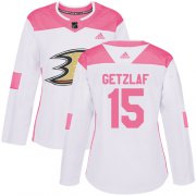 Wholesale Cheap Adidas Ducks #15 Ryan Getzlaf White/Pink Authentic Fashion Women's Stitched NHL Jersey