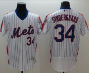 Wholesale Cheap Mets #34 Noah Syndergaard White(Blue Strip) Flexbase Authentic Collection Alternate Stitched MLB Jersey