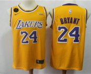 Wholesale Cheap Men's Los Angeles Lakers #24 Kobe Bryant Yellow With KB Patch 2018-2019 Nike Wish Swingman Stitched NBA Jersey