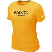 Wholesale Cheap Women's Nike New Orleans Saints Sideline Legend Authentic Font T-Shirt Yellow