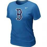 Wholesale Cheap Women's MLB Boston Red Sox Heathered Nike Blended T-Shirt Light Blue