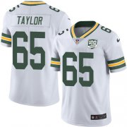 Wholesale Cheap Nike Packers #65 Lane Taylor White Men's 100th Season Stitched NFL Vapor Untouchable Limited Jersey