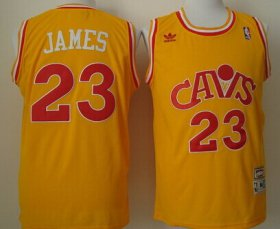 Wholesale Cheap Cleveland Cavaliers #23 LeBron James CavFanatic Yellow Swingman Throwback Jersey