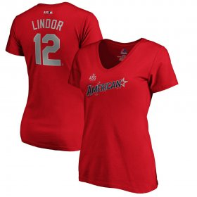 Wholesale Cheap American League #12 Francisco Lindor Majestic Women\'s 2019 MLB All-Star Game Name & Number V-Neck T-Shirt - Red